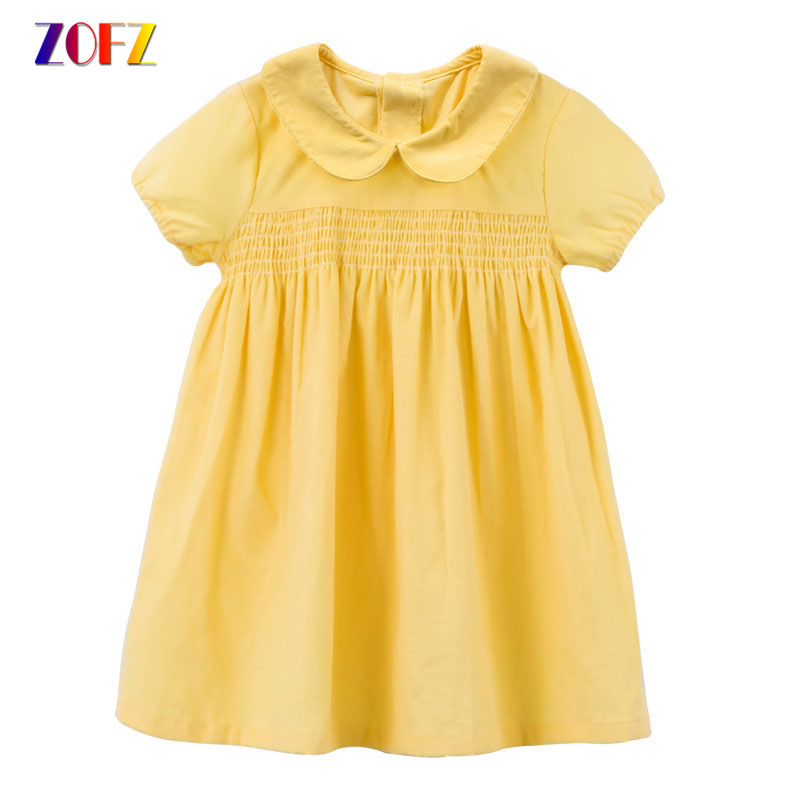 ZOFZ Girls Dress Cotton Short Sleeve Solid Kids Dresses For Girl Cute Summer Clothing A Line Knee Length Dress Baby Girl Clothes