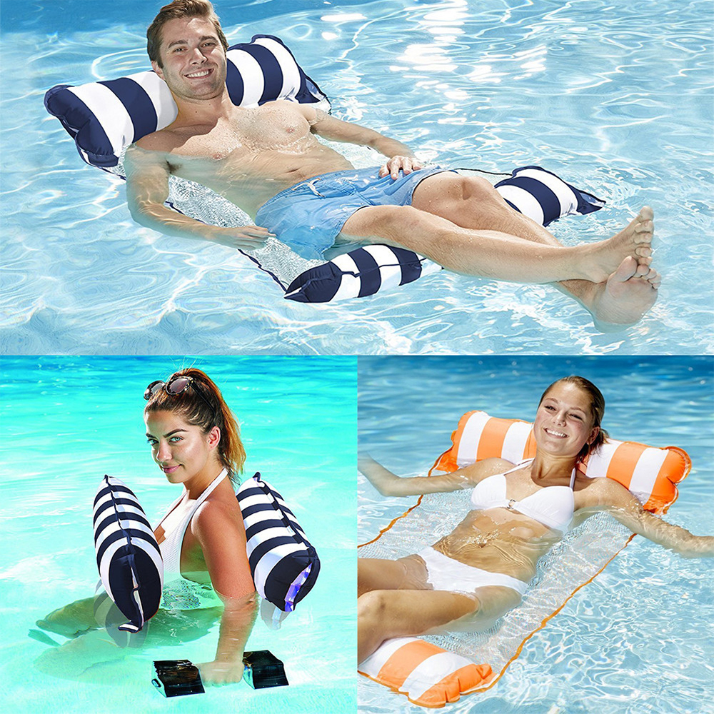 Water inflatable floating bed hammock lazy sofa swimming pool float swimming ring swimming in Swimming Rings from Sports Entertainment
