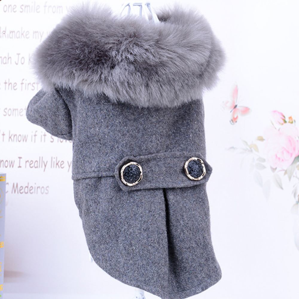 Cat Fur Sweater: Winter Dog Clothes Pet Cat Fur Collar Jacket Coat Sweater