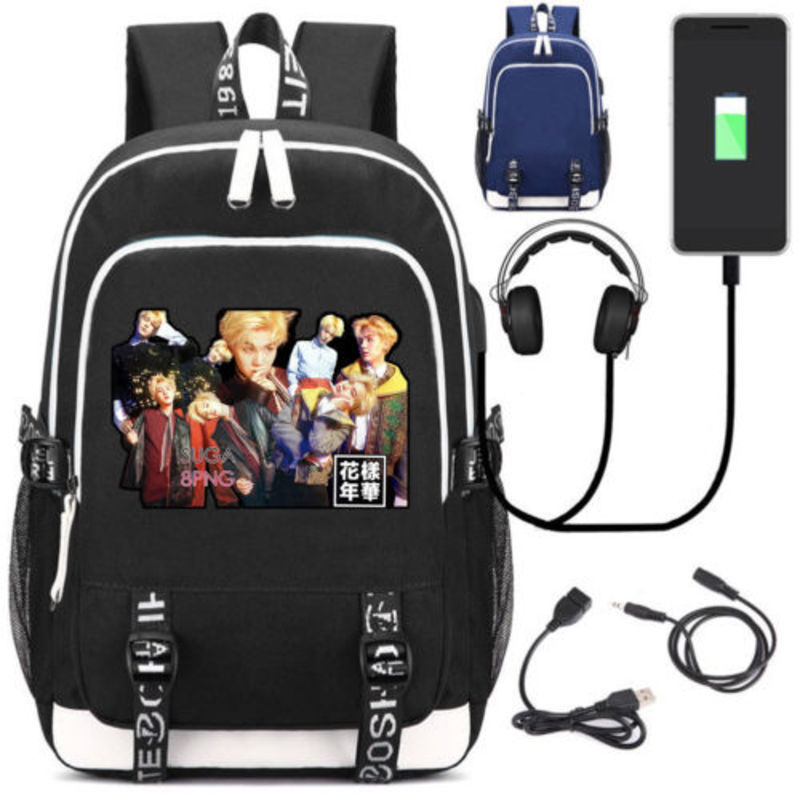 New BTS/Bangtan Boys School Backpack Bags Unisex Black Laptop Shoulder Bags Knapsack USB Charge Interface Travel Bag roblox game casual backpack for teenagers kids boys children student school bags travel shoulder bag unisex laptop bags