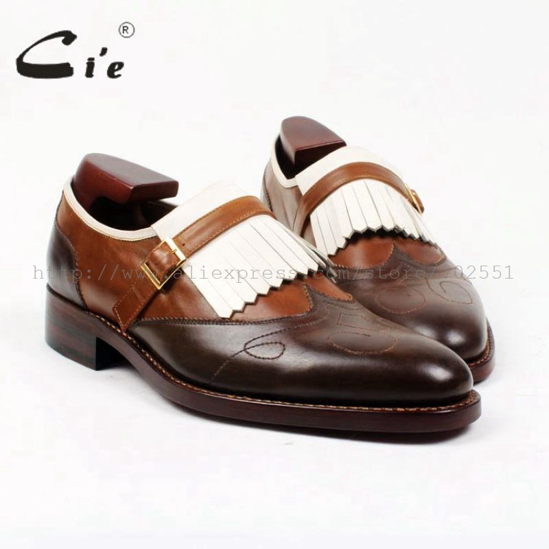 cie Free Shipping Handmade Tassels Buckle Loafer Brown White Matching Calf Leather Bottom Outsole font b