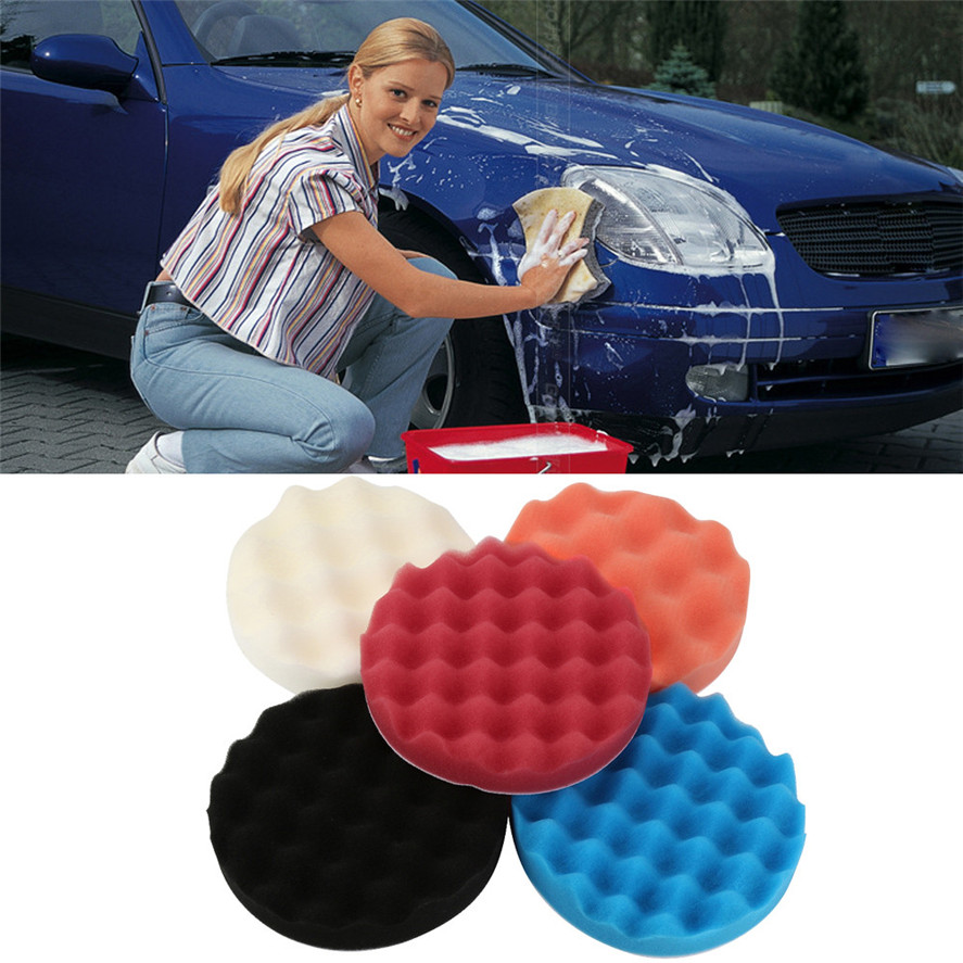 New Car Maintenance Sponge Brush 5pcs 6Inch Car Polishing Wash Sponge Waxing Washing Cosmetic Buffing Pads Kit Dropshipping
