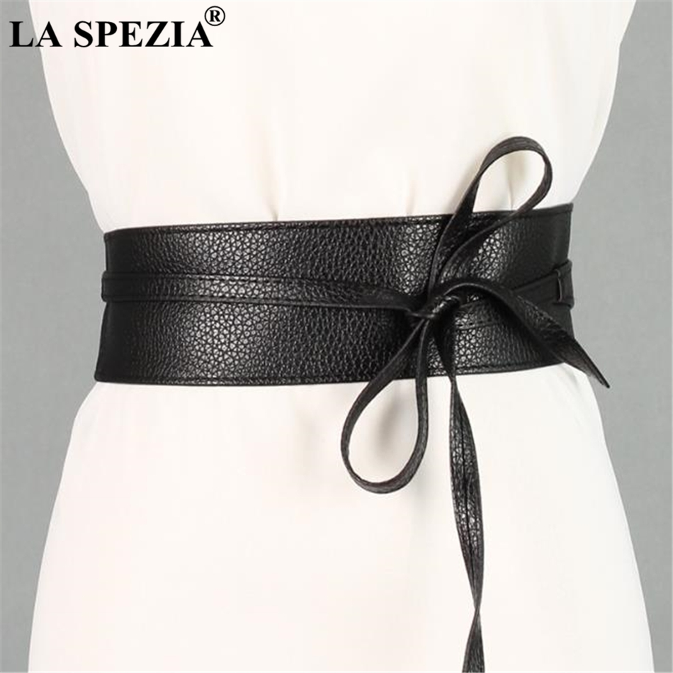 LA SPEZIA Women   Belt   Black Pu Leather   Belt   Women Soft Leather Wide Ladies   Belts   For Dresses Self Tie Wrap Wedding Female   Belt