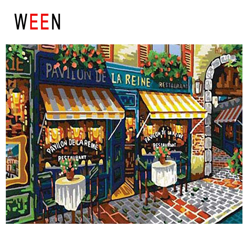 WEEN Street Shops Diy Painting By Numbers Abstract Town Oil On Canvas Landscape Cuadros Decoracion Acrylic Home Decor