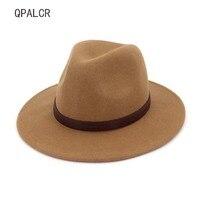 QPALCR Winter Jazz Hats Large Brim Cloche Panama Felt Fedora Hat For Women Men Black Trilby Derby Burgundy Belt Cowboy Hat