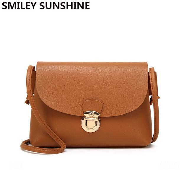 SMILEY SUNSHINE small women messenger bags ladies fashion mini handbag  crossbody bags brown female flap shoulder 8967a07405f3a
