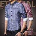 Бесплатная доставка Большой размер м-5xl осень 2016 новых людей с длинным рукавом клетчатой рубашке Slim fit мужская мода мужские свободного покроя бизнес-рубашки