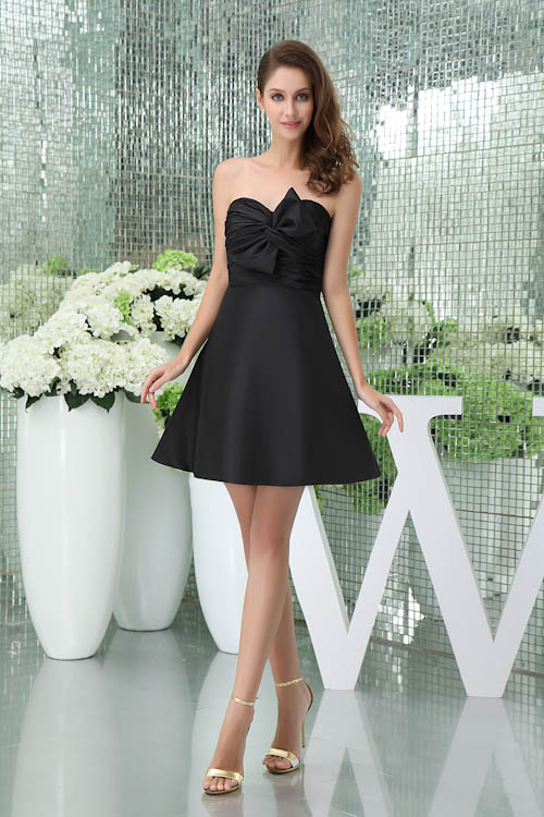 New Arrival Black Strapless Pleat A-Line Wedding   Bridesmaid     Dresses   Ruched Satin Bow Party   Dresses   Short Prom Gown Vestidos
