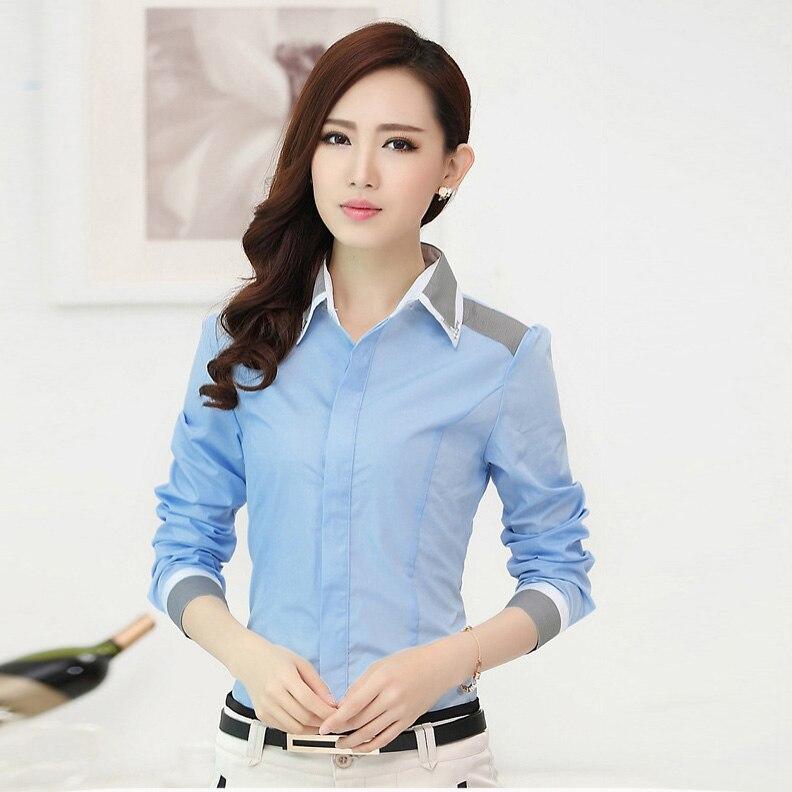 New Fashion Women Business Stripe Stitching Formal Shirt