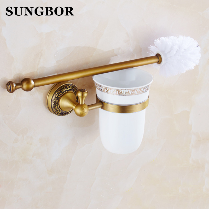Bathroom brass antique bathroom toilet brush holder suits Archaize toilet holder Bathroom hardware accessories Toilet brush antique brush toilet brush holder luxury carved solid brass toilet cleaning holder ceramic cup bathroom accessories
