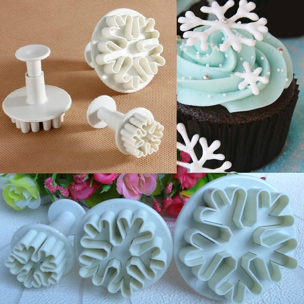 Best Cake Decorating Fondant : Top sale Halloween Christmas Snowflake Plunger Mold Cake ...
