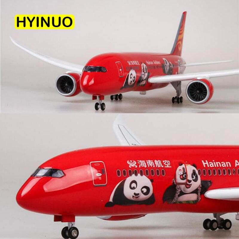43 CM 1/130 skala samolot Boeing B787 chinach Hainan linii lotniczych Model W światło i felgi Diecast żywicy z tworzywa sztucznego samolot do kolekcja w Odlewane i zabawkowe pojazdy od Zabawki i hobby na  Grupa 1