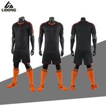 LIDONG, футбольные комплекты для взрослых мальчиков, футбольные комплекты, Джерси, форма, Futbol, тренировочные костюмы, Черная Спортивная одежда из полиэфира, короткий рукав