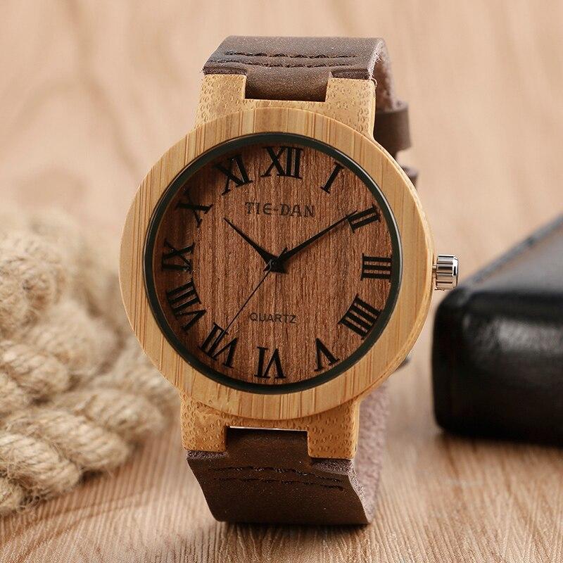 Top Brand Roman Numerals Bamboo Handmade Wooden Watch TIEDAN Genuine Leather Band Male Sports Quartz Watch Reloj de madera Gift