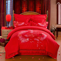 Svetanya Embroidered Wedding King Size Bedding Sets high quality cotton silk jacquard Luxury Peacock Tail Print Red Bedlinens