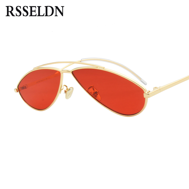 RSSELDN Red Small Sunglasses Men Yellow Blue Clear Lens Metal Frame Vintage Women Sunglasses 2018 New Fashion Unisex Shades UV