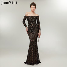 JaneVini 2018 Sexy Mermaid Black Long Sleeves Bridesmaid Dresses Boat Neck Sequined Floor Length Arabic Formal Prom Party Gowns(China)