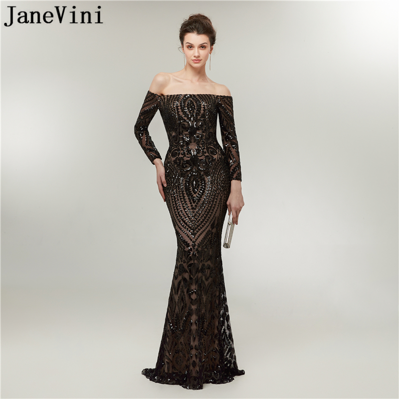 JaneVini 2018 Sexy Mermaid Black Long Sleeves   Bridesmaid     Dresses   Boat Neck Sequined Floor Length Arabic Formal Prom Party Gowns