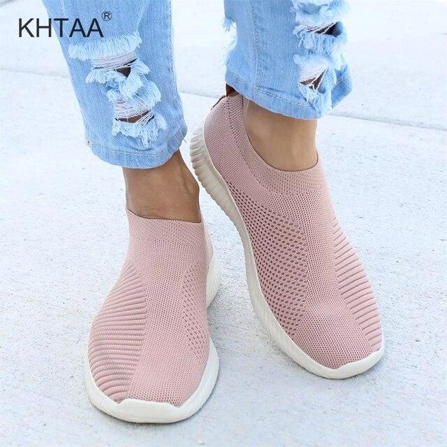 Kadın Örgü Çorap Ayakkabı Düz Platform Streç Kumaş Spor Ayakkabı Moda Bayanlar Açık Vulacanize Ayakkabı Kadın Ayakkabı Artı Boyutu