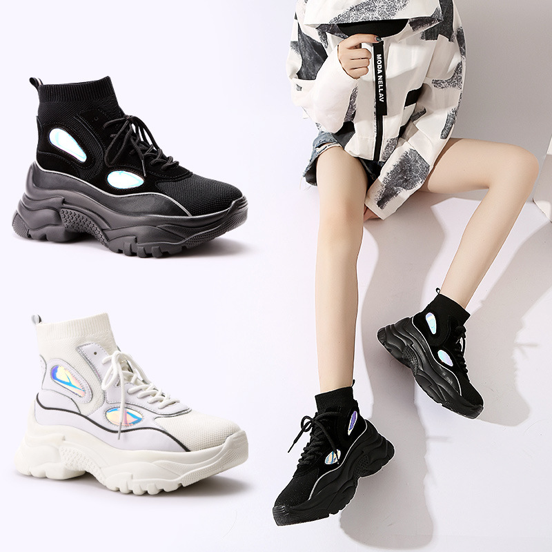 Lace-Up Casual Fashion Women's Platform Vulcanize Shoes T-tied Cross-tied Breathable Sneakers Solid Winter Thick Soled Shoes v cut solid romper with tied strap