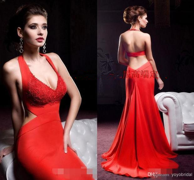 custom-made v-neck free shipping red long   prom     dresses   2015 New fashion sexy backless vestido de festa party evening gowns
