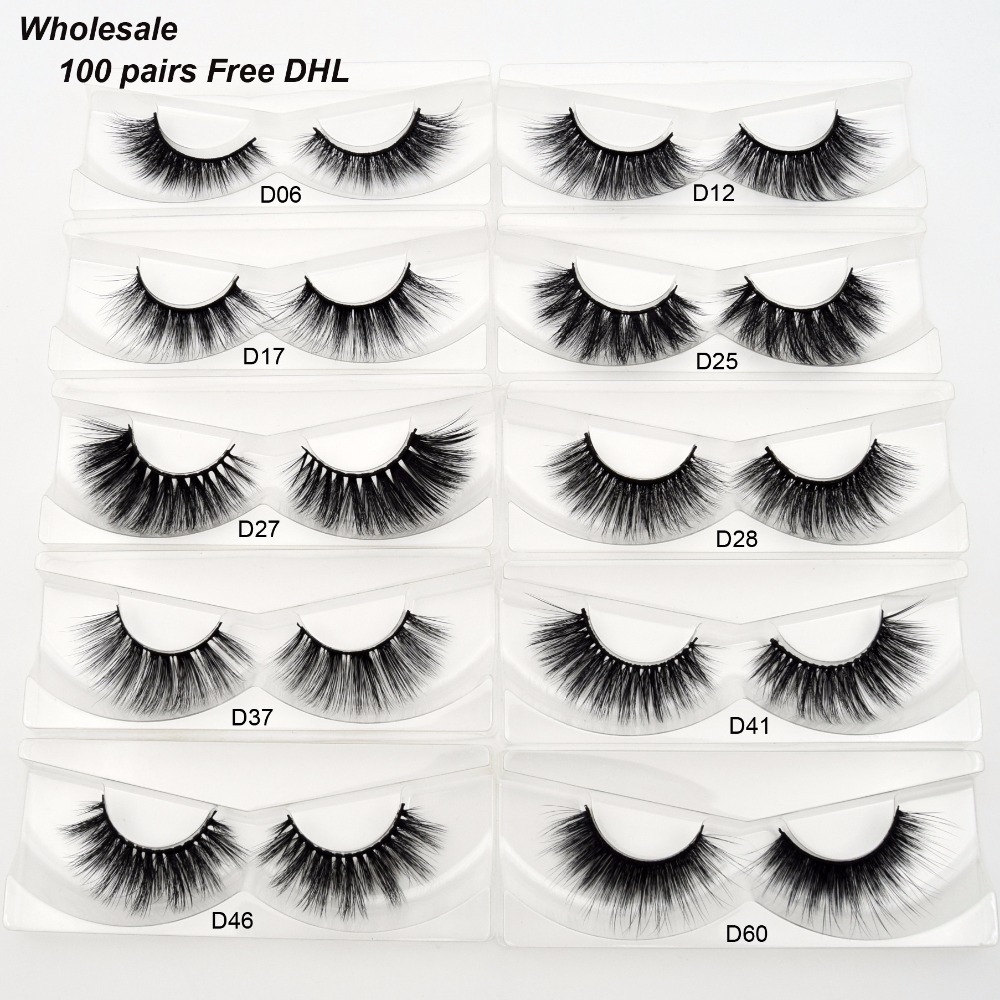 Free DHL 100pairs Visofree Faux Mink Lashes 3D Silk Eyelashes Handmade Full Strip Lashes Dramatic False Eyelashes Makeup 20style-in False Eyelashes from Beauty & Health    1