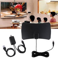 Indoor Mini Digital TV Antenna Thin Flat Digital HDTV Antenna With TV Aerial Amplifier 50 Mile