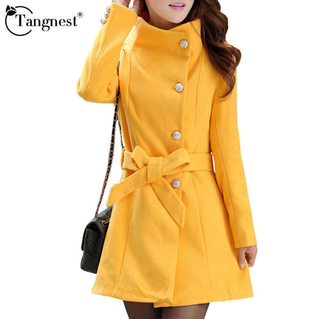 TANGNEST Women Trench Coat Winter Warm Long Outwear OL Work Suits Korean Style Turn Down Collar Elegant Belt Ladies Coat WWD183