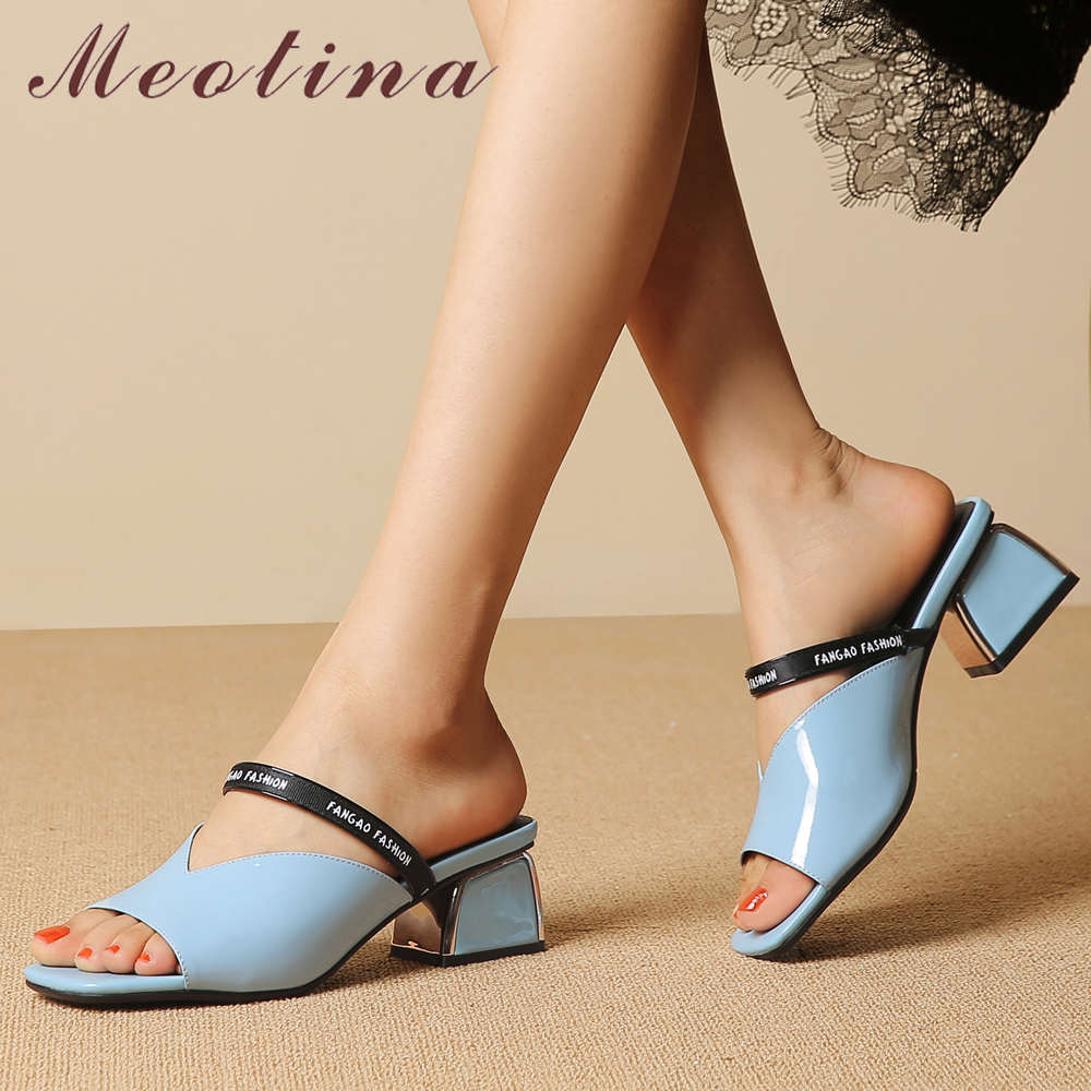 Meotina Women Slides Summer Shoes Natural Cow Leather Thick High Heel Shoes Fashion Open Toe Slippers