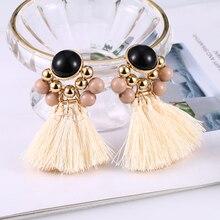 Bohopan New 2019 boho jewelry Women round tassel  drop earrings black pearl Dangle fashion wedding party