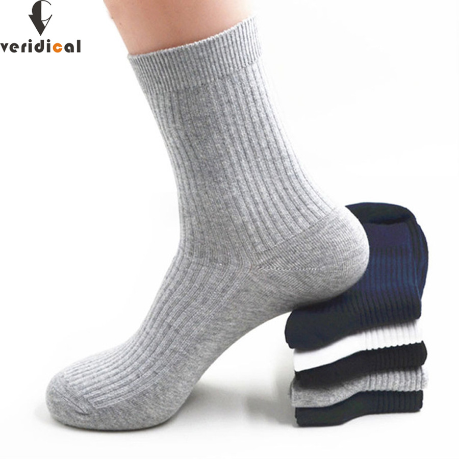 VERIDICAL 5 pairs/lot mens socks cotton business Solid formal work meias masculino short calcetines socks for male Fit EU39-45