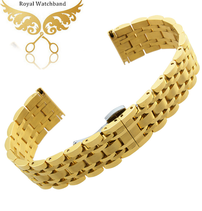 Watchbands 20mm 22mm Gold Stainless Steel Watch Band Metal Clasp Bracelet Strap