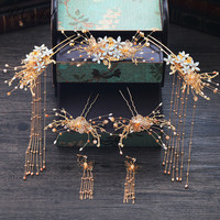 PEORCHID Chinese Bride Hair Jewelry Gold Hair Comb Clip Bridal Hair Pins Flowers Wedding Headdress Ornament Ancient Hair Sticks