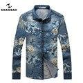 SHAN BAO marca flores de mezclilla camisa de los hombres de la solapa de la moda 2017 otoño nueva algodón de manga larga camisa azul CS5507 3XL 4XL 5XL