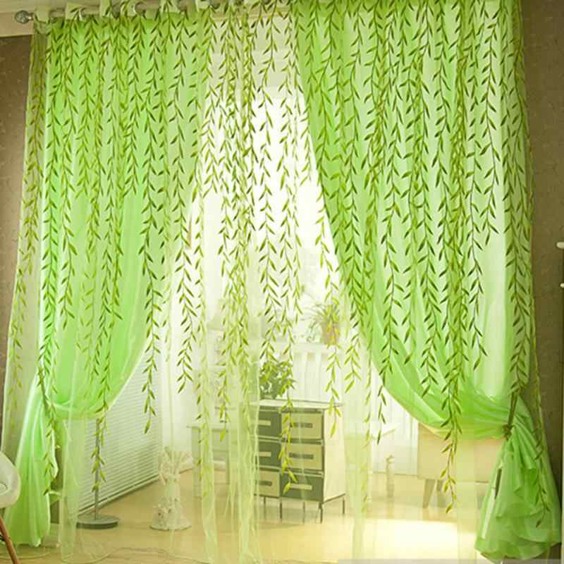 Pastoral Style Willow Floral Print Tulle Curtains For Bedroom Living Room Decor Hallway Window Screen Balcony Home Decoration