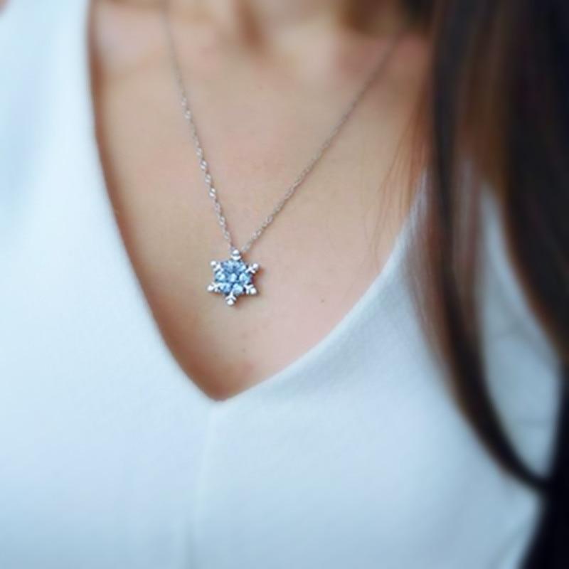x24 Fashion Jewelry Shiny Blue Crystal Rhinestone Pendant Necklace  Beautiful Snowflake Flower Necklace For Women Wedding Jewelry-in Pendant  Necklaces from ... 22f75052df90