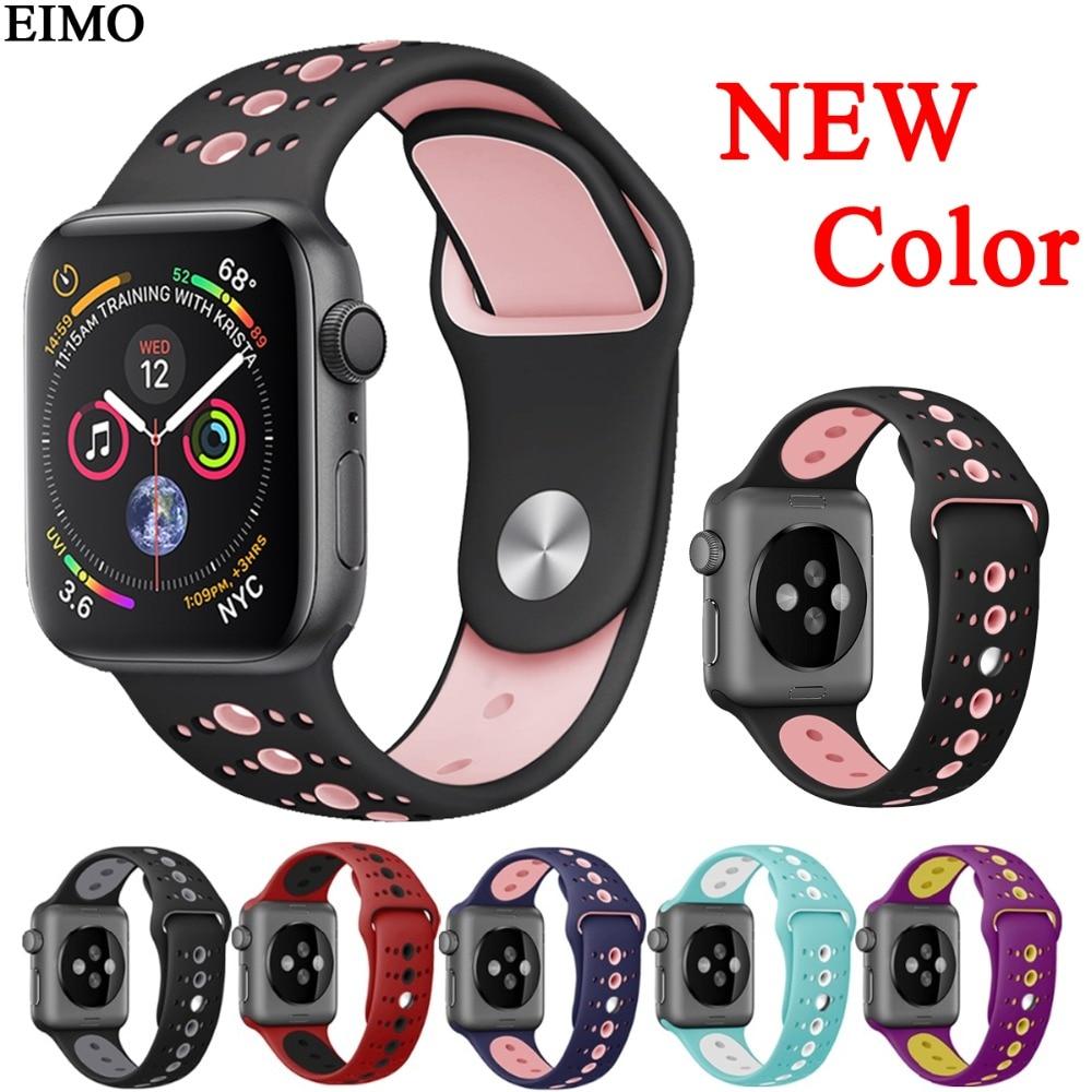 6cda0cb7354 EIMO Esporte Silicone Faixa de Relógio Cinta para Apple iwatch 38 42 40  44mm mm mm mm Série 4 3 2 1 Correia de Pulso Pulseira de borracha pulseiras  de ...