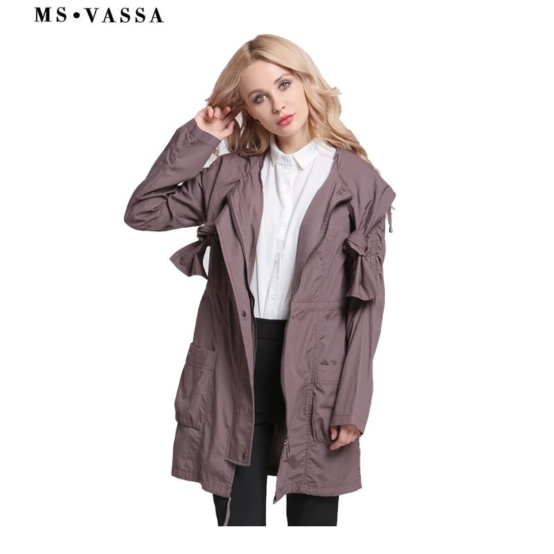 650d1861648 MS Vassa для женщин пальто для будущих мам 2019 Новый осень весна девушки  тренчи с кулиской одежда и капюшон плюс размеры 3XL длинная верхняя