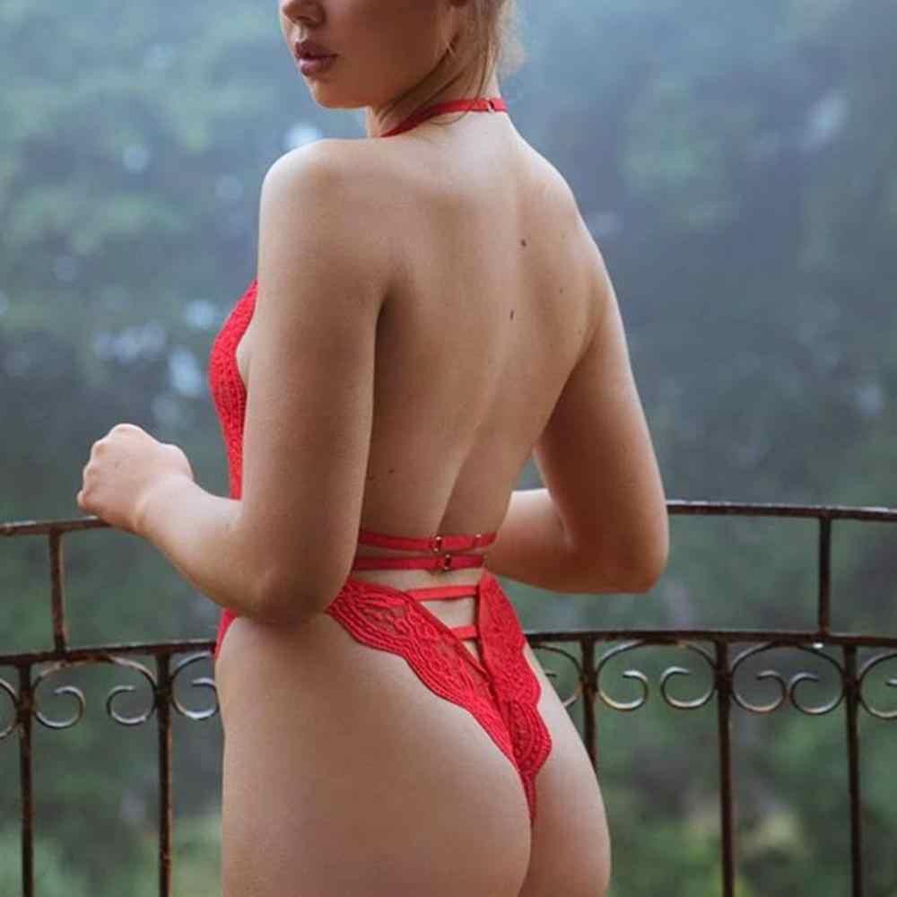Seksi Renda Bodysuit Wanita Tali Bahu Dasi Kupu-kupu Bunga Tali Hollow Keluar Bodysuit Tubuh Patchwork Hitam Putih Baju Monyet Celana Kodok