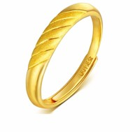 Fashion 999 Solid 24K Yellow Gold Ring /Lucky Carved Unisex Ring Band / 3.2g