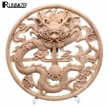 RUNBAZEF En Bois Décoration de La Maison Accessoires En Bois Sculpté Coin Onlay Applique Artisanat Meubles Porte Wall Sticker Décor Figurine
