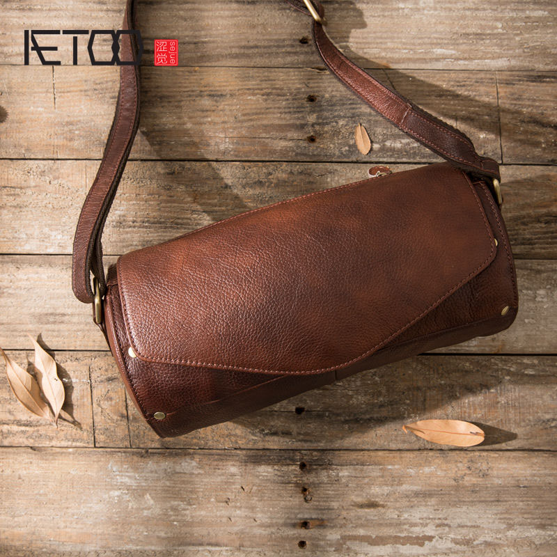 Original Retro First Layer Cowhide Drum Bag Shoulder Movement Bucket Bag Handmade Leather Male Bag Messenger Bag