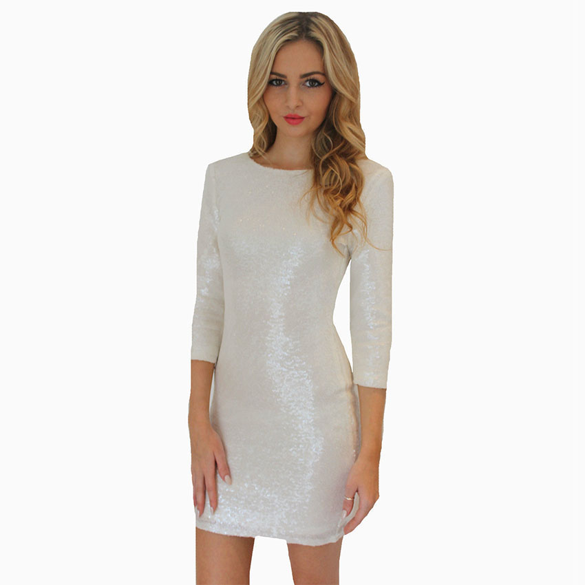Avodovama M Fashion Women s Short Tight Halter Sequins Package Hip Long  Sleeve Dresss Pencil Dresses Sexy Club Wear-in Dresses from Women s  Clothing on ... 00fbfdd97d60