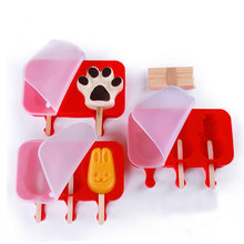 2/3 Cells DIY Frozen Ice Cream Mold Silicone Popsicle Maker Holder With Wooden Sticks Ice Lolly Mould Tray Pan Kitchen Tools   цена и фото