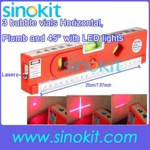 3 пузырь флаконов горизонтальный лазерный уровень Маркер измерительная Клейкие ленты отвеса и 45 'со светодиодными огнями lv04