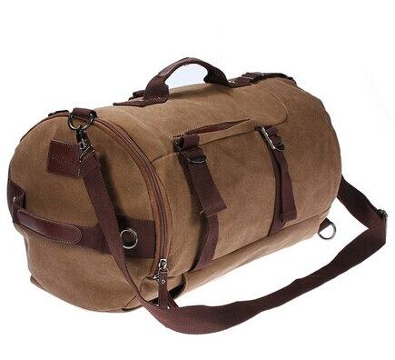 46cmx27cmx27cm Coffee Large Capacity Man Travel Bag Mountaineering Backpack Canvas Bucket Shoulder Bag