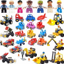 Legoing City Building Block Excavator Crane Fire Truck Aircraft Police Model Bricks With Legoings Duplo Figures Technic Car Toys(China)