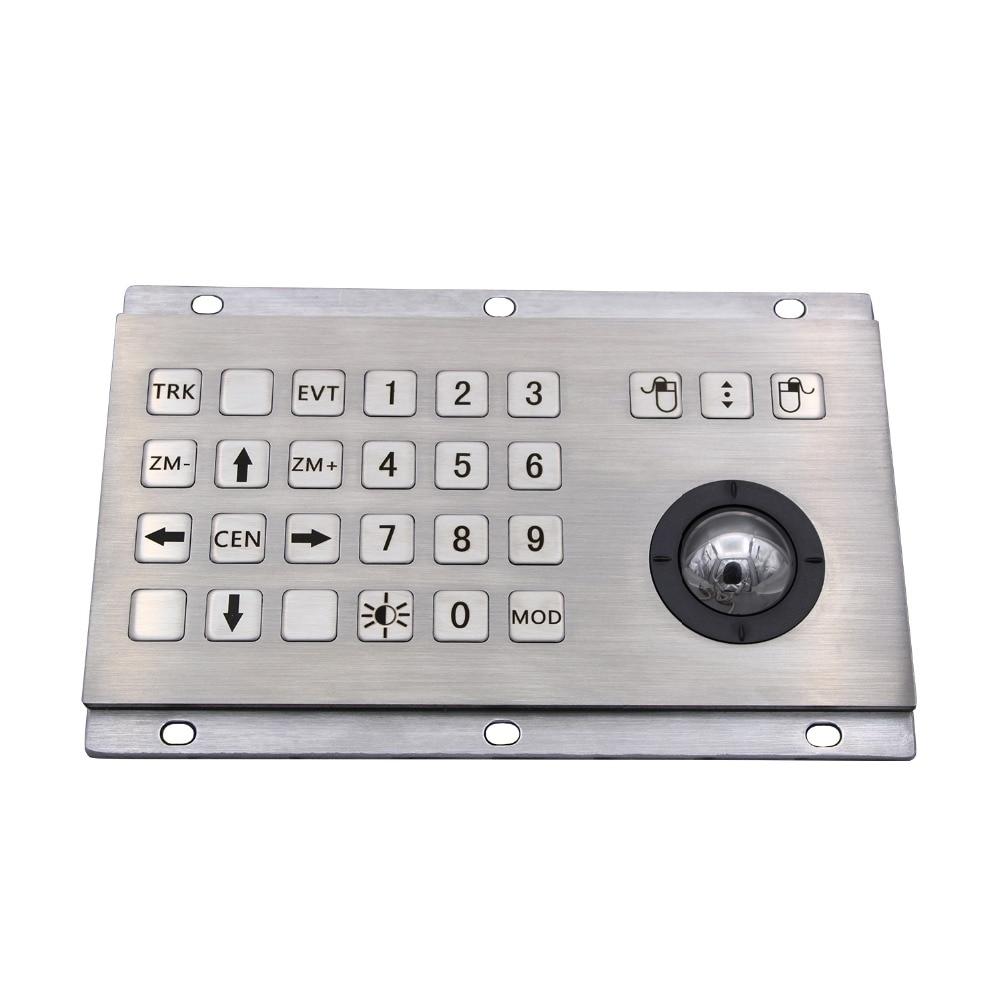 Industrial Keyboard With Numeric Keys And Trackball IP65 Stainless Steel USB Kiosk Keypad 24 Keys Metal