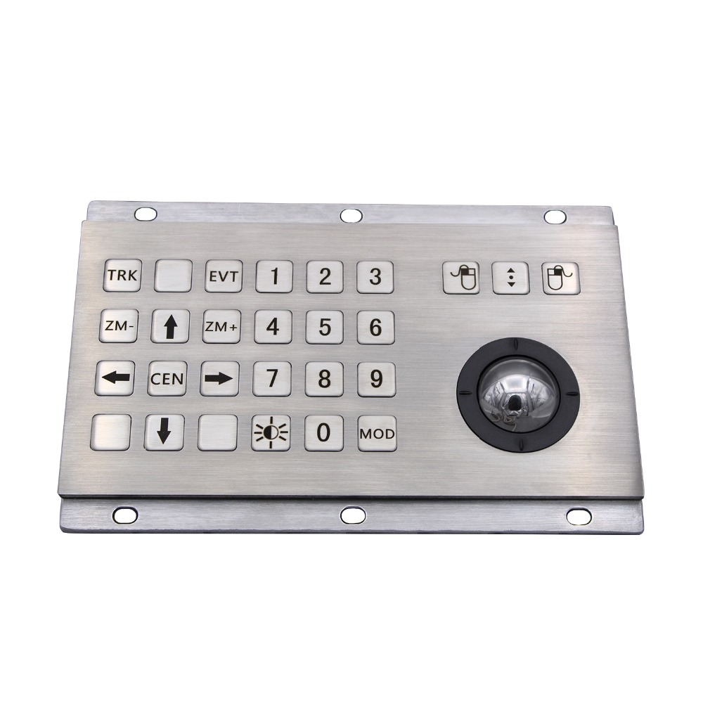 цена на Industrial Keyboard With Numeric Keys And Trackball IP65 Stainless Steel USB Kiosk Keypad 24 Keys Metal Keypad