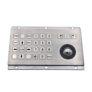 Industrial Keyboard With Numeric Keys And Trackball IP65 Stainless Steel USB Kiosk Keypad 24 Keys Metal Keypad(China)